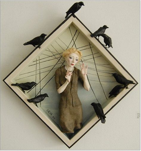 """""""Murder"""" - Ooak Mixed Media Art Doll Sculpture - based on Alfred Hitchcock's """"The Birds"""" - by DalvaArt"""