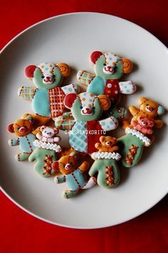 パッチワーク風 テディベアのアイシングクッキー | アイシングクッキーおかしのこびとのブログ
