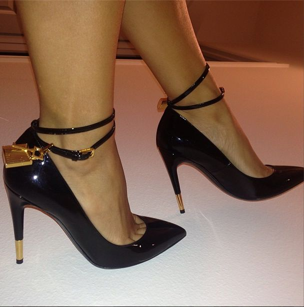 Draya Michele wearing Tom Ford Padlock ankle strap pumps