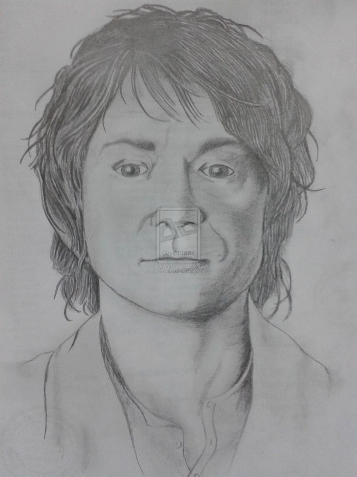 A portrait sketch of Bilbo Baggins The Hobbit, The Burglar, The Riddle Maker, The Barrel Rider and The Iron Fist in a Velvet Glove.