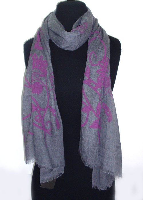 stensil flower patterns on cotton fabric scarf_fashion woman accessories.