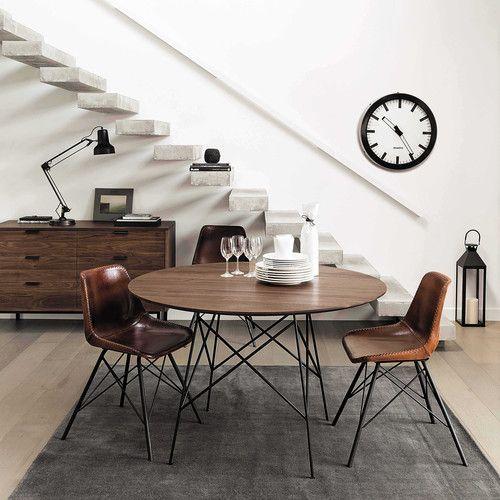 Stuhl im Vintage-Stil AUSTERLITZ aus Leder und Metall, braun