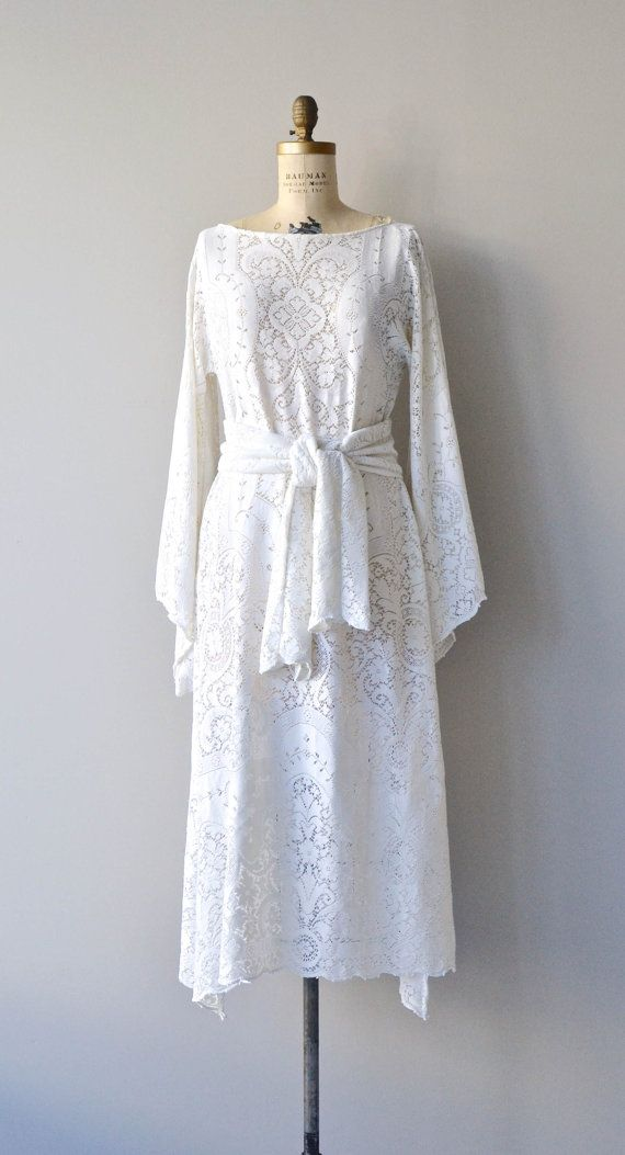 Barocco lace dress vintage 1970s bohemian wedding dress for 1970s vintage wedding dresses
