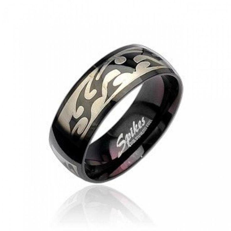 Кольцо темное с племенным узором R8020