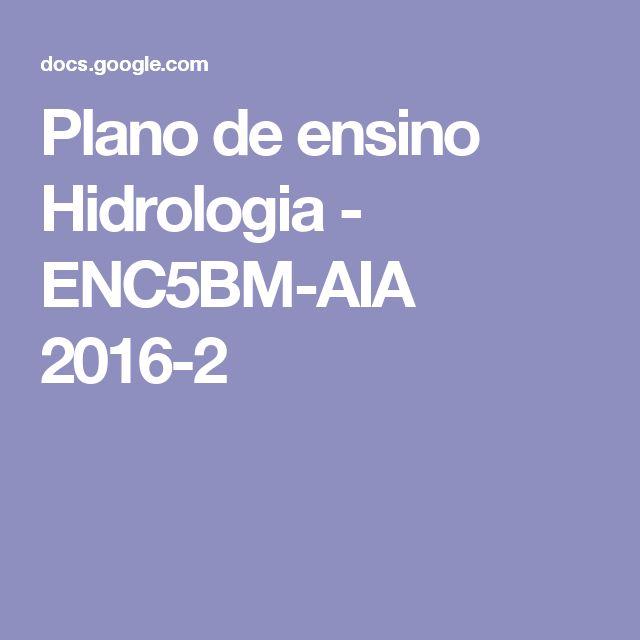 Plano de ensino Hidrologia - ENC5BM-AIA 2016-2