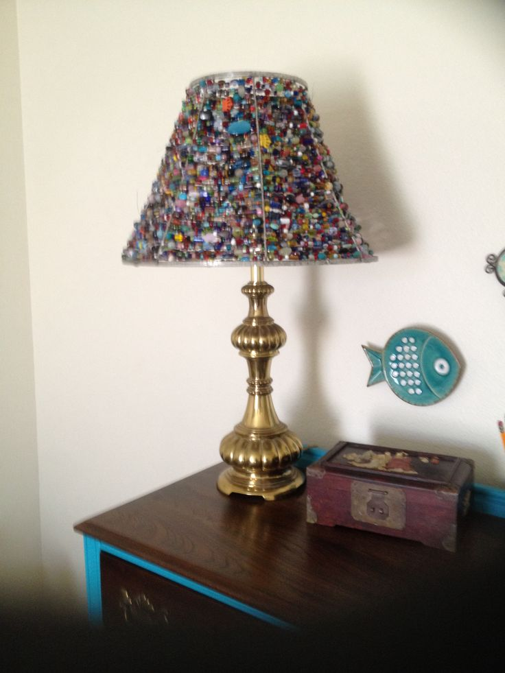 33 best sacred geometry and other lamp shades images on pinterest beaded lampshade i made from an old lampshade wire frame and close to ten pounds of greentooth Images