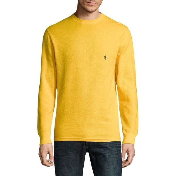 Polo Ralph Lauren Crewneck Cotton Sweater ($25) ❤ liked on Polyvore featuring men's fashion, men's clothing, men's sweaters, mens crew neck sweaters, mens cotton crew neck sweaters, mens yellow sweater, mens crewneck sweaters and mens sweaters