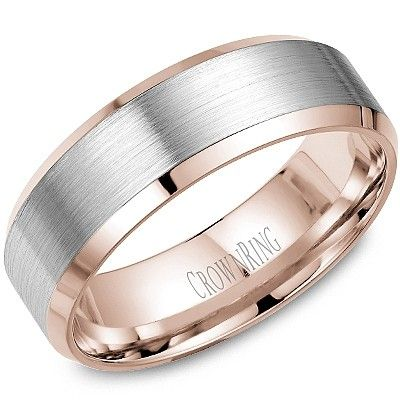 Wedding ring for him: CrownRing Made in Montreal. 7mm white & rose gold band. WB-9532WR #CrownRing #WeddingRings #HeinrichsJewellery