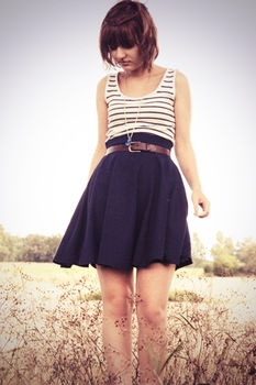 Nautical Inspired Navy Circle Skirt And Striped Top