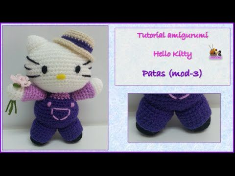 Tutorial amigurumi Hello Kitty - Ramo (mod-1) - YouTube