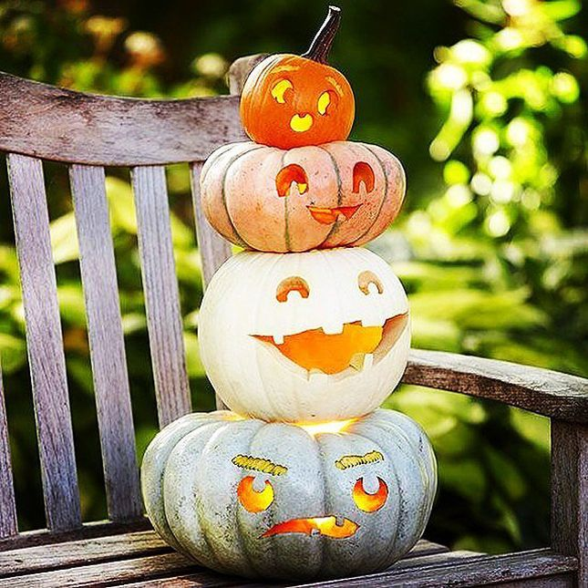 """Use those """"imperfect"""" pumpkins for this great pumpkin totem pole with tons of personality!"""