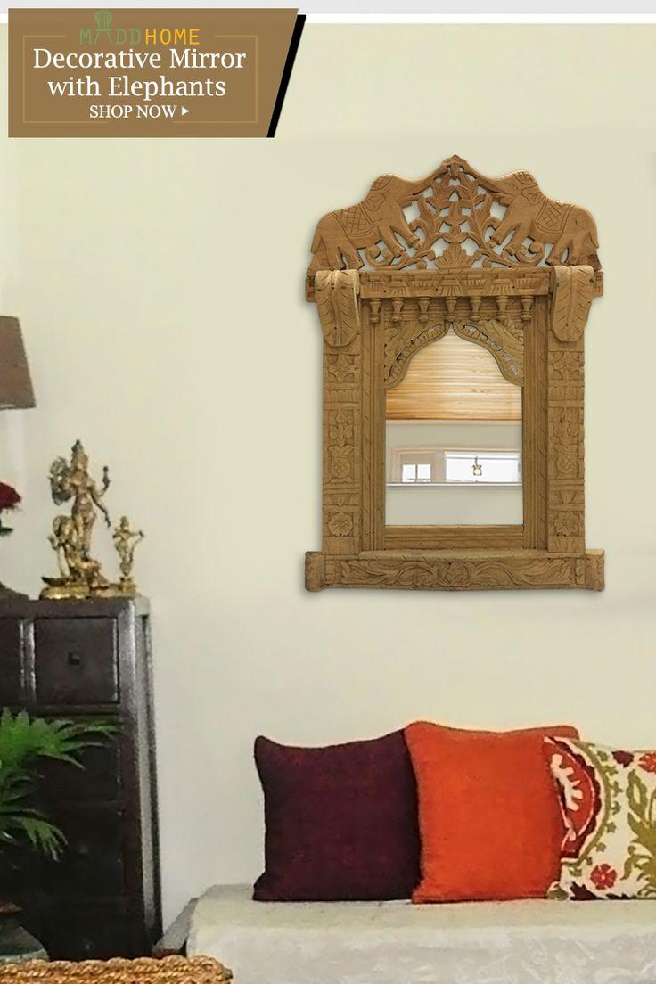 Fine Arts of Jodhpur Decorative Mirror with Elephants