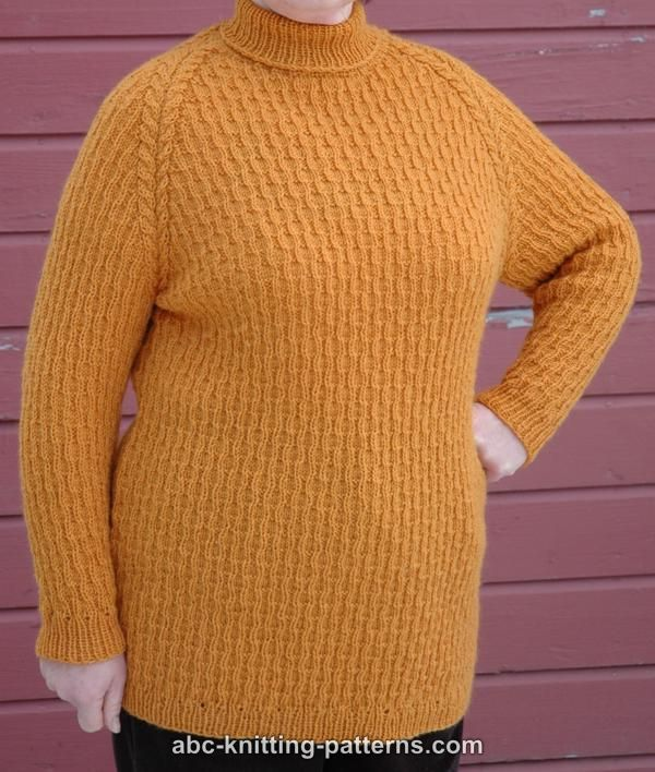 Knitting Patterns For Turtleneck Sweater : ABC Knitting Patterns - Raglan Sleeve Sweater with Turtleneck Collar Crafts...