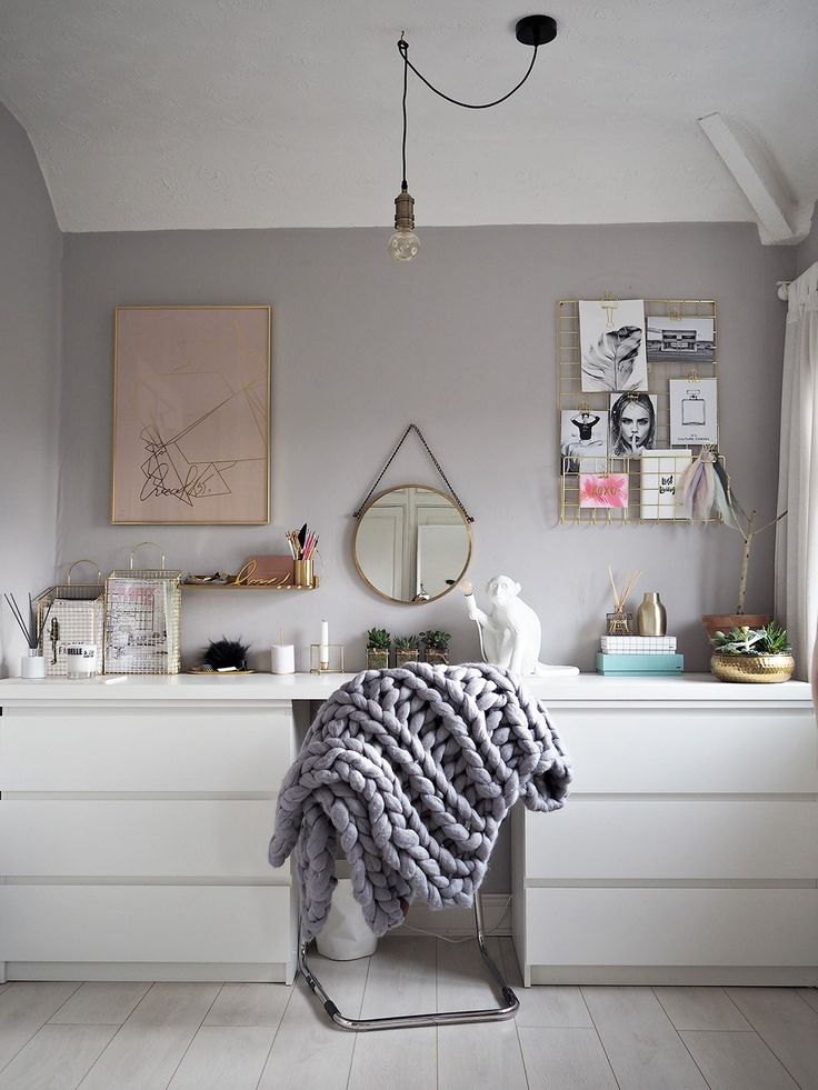 grey scandi style office space with gold and brass accents