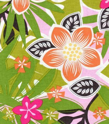 Tropical Fabric- Orange Green Pink Floral Cotton