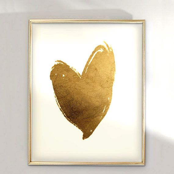 PRINT Gold Heart- hand Applies Gold Foil Print by Geordanna the Artist of GlamLambCreations on Etsy, $24.99
