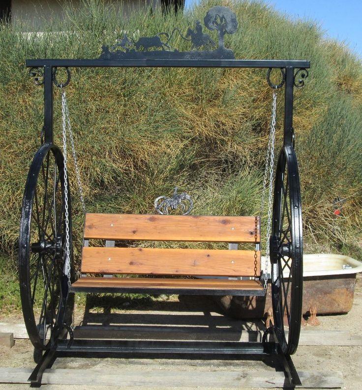 Garden Swing Hand Made W 100 Yr Old Hay Rake Wheels Steel U0026 Redwood W Metal  Art