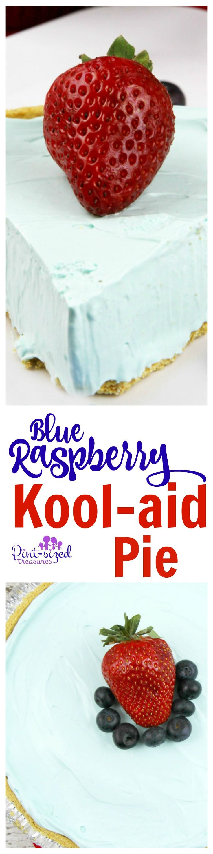 A no-bake dessert that's gorgeous, creamy, sweet and ready in just a few minutes! Indulge in blue raspberry Kool-Aid pie today!