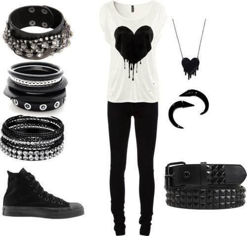 I need the black heart t-shirt in this outfit, but the whole outfit would be great for gigs.