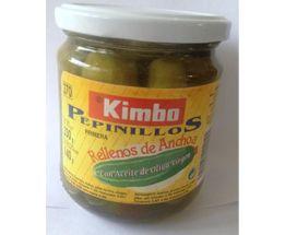 Pepinillos rellenos de anchoa. 370 ml. Pepino, anchoa, aceite de oliva, vinagre y pimiento.  Caja de 12 unidades.