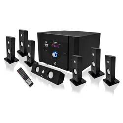7.1 Channel Home Theater System with Satellite Speakers, Center Channel, Subwoofer, Bluetooth, FM Tuner