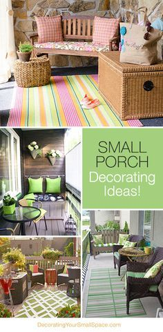 Small Porch Decorating Tips & Ideas! Love the small bench with the cushions hung on the wall! Could so work for my patio!!!