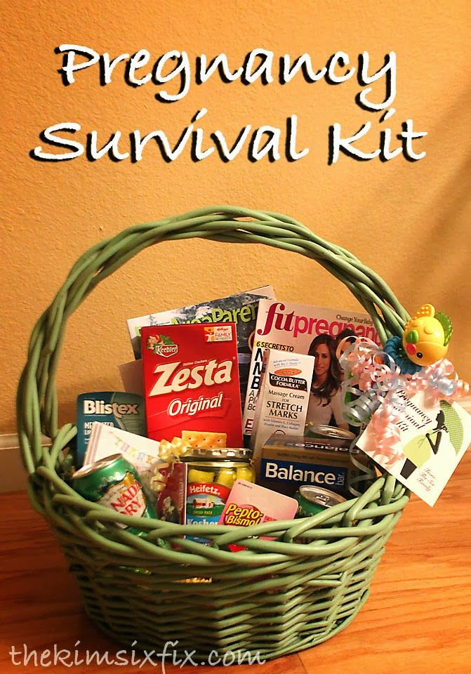 Pregnancy Survival Kit:Gift Idea for any Expecting Mom. Includes things like:  Ginger Ale Saltine Crackers Antacids Stretch Mark Cream Chapstick Baby gift thank you notes Protein Bars Pregnancy Magazines