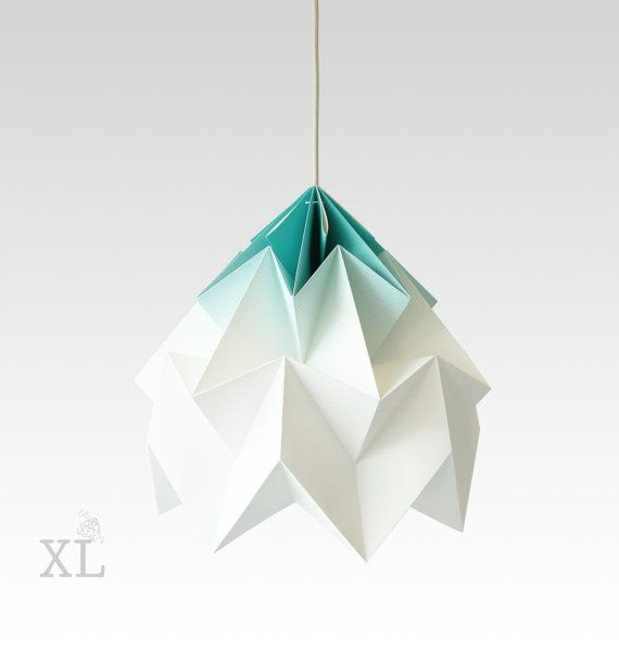XL Moth origami lampshade gradient mint