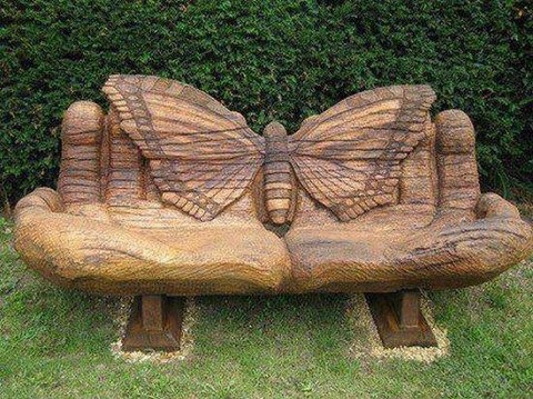 Butterfly bench carved out of wood: Wood Art, Rooms Furniture, Wooden Benches, Secret Gardens, Wood Benches, Butterflies, Hands, Chairs, Gardens Benches