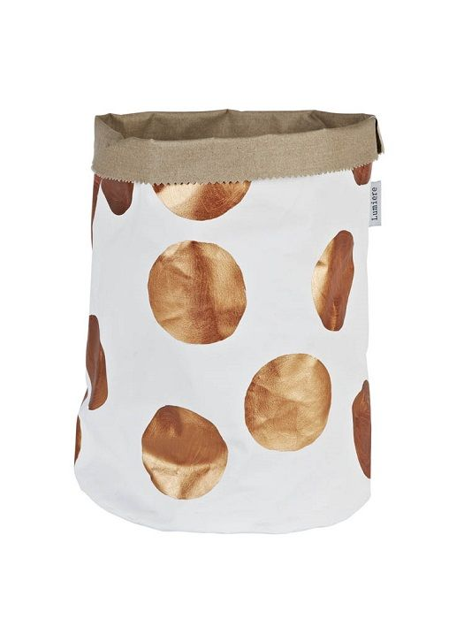 Copper dot canvas bucket