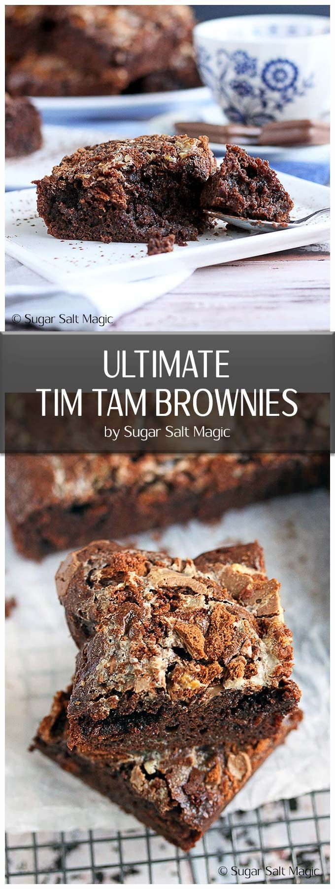 Ultimate Tim Tam Brownies are perfect dense, fudgy brownies filled and topped with Arnotts Tim Tams #australiadayfood #brownies via @sugarsaltmagic