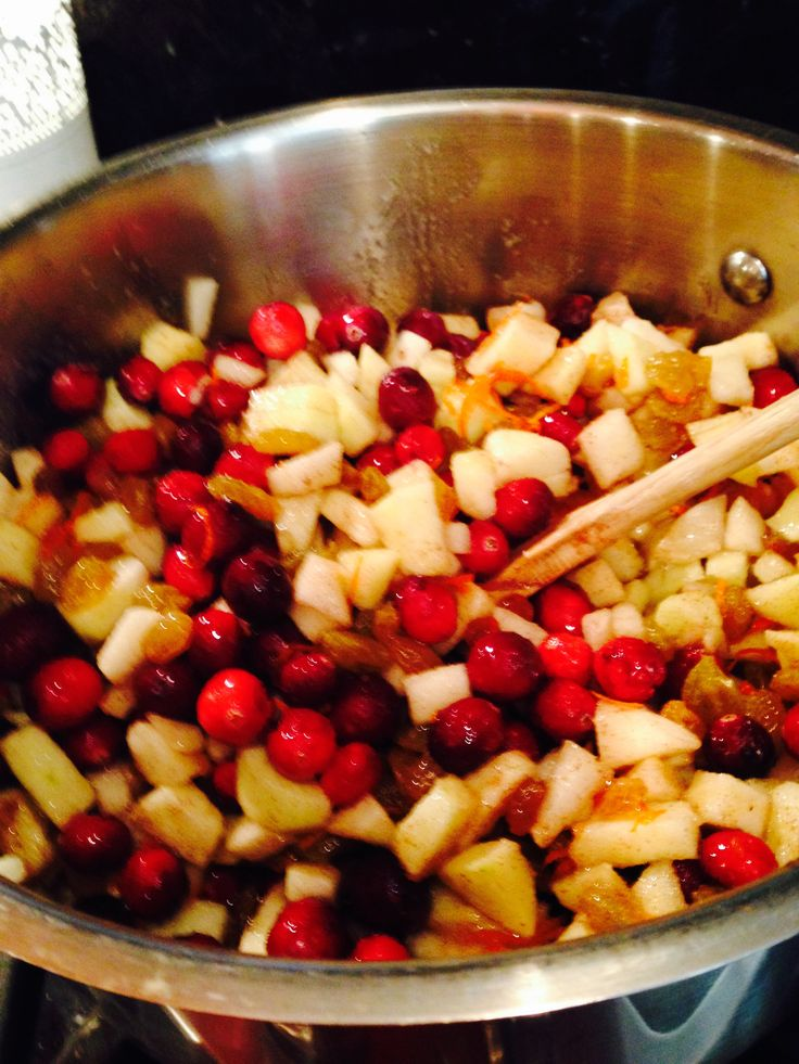 Cranberry Apple Pear relish in the making for my preserve pantry.