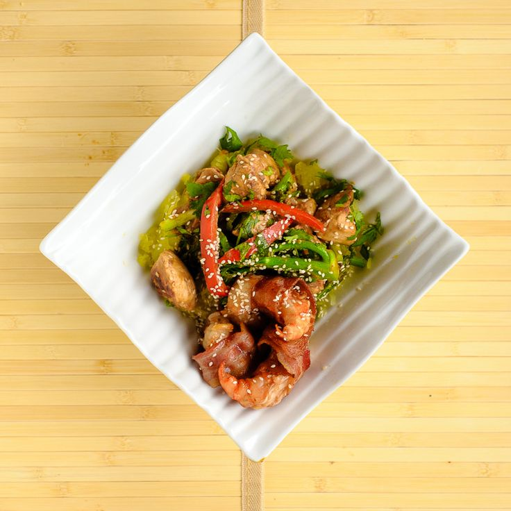 Avocado Coconut Thai Stir Fry with Chicken and Bacon wrapped Shrimp on a bed of Spaghetti Squash. Ingredients to use; Savory Salts, Bell Pepper, Jalapeno, Cilantro, Avocado, Green Onion, Shrimp, Almond Butter and Bacon