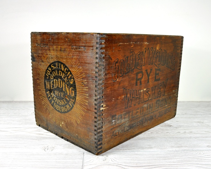 Vintage Whiskey Shipping Crate / Wood Crate / Wooden Box / Industrial Decor.