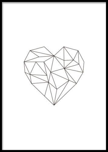 Tavla med geometriskt hjärta i svart. Snygga tavlor med vackra motiv med kärlek. Poster 30x40cm