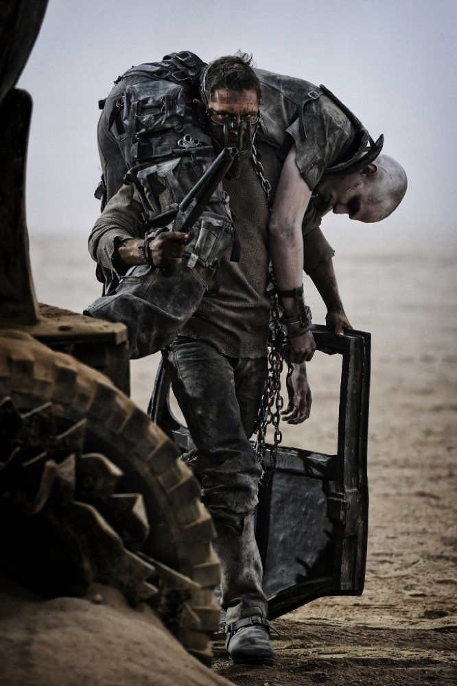 Tom Hardy and Nicholas Hoult in Mad Max: Fury Road directed by George Miller, 2015. Photo by Jasin Boland