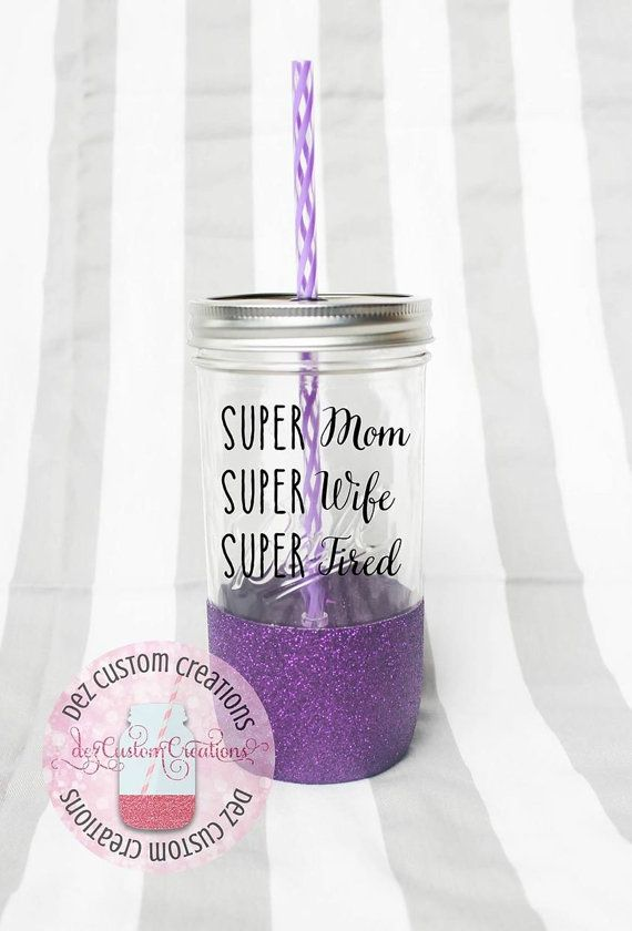 Glitter Dipped Mason Jar Tumbler Ball By