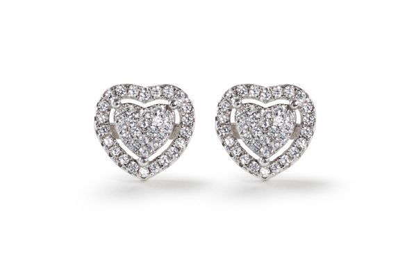 Cubic Zirconia cluster heart stud earrings Silver