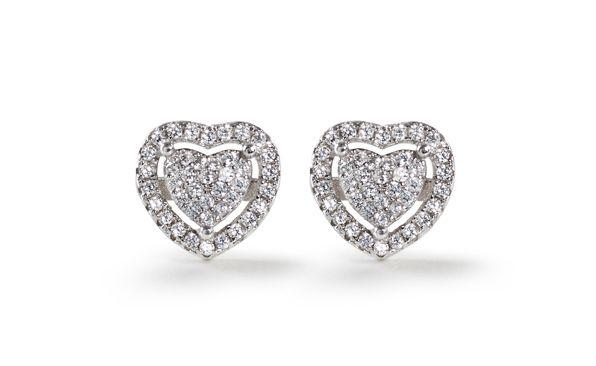 Cubic Zirconia cluster heart stud earrings Silver