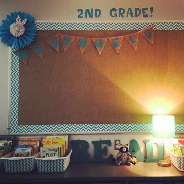 My burlap, and chevron bulletin board.