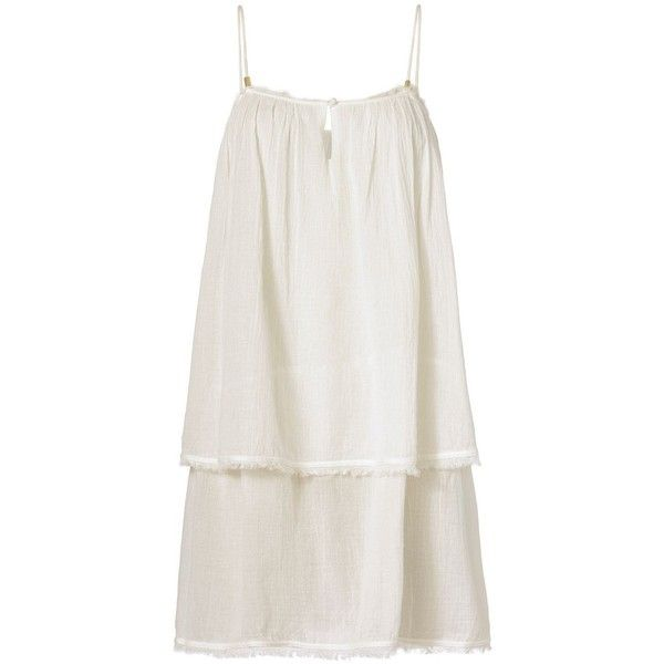 Heidi Klein Gauzy Mini Beach Dress found on Polyvore featuring dresses, white, beach dress, keyhole dress, white beach dress, key hole dress and white fringe dress