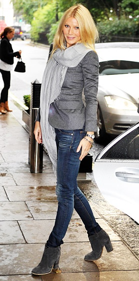grey blazer, grey boots, scarf