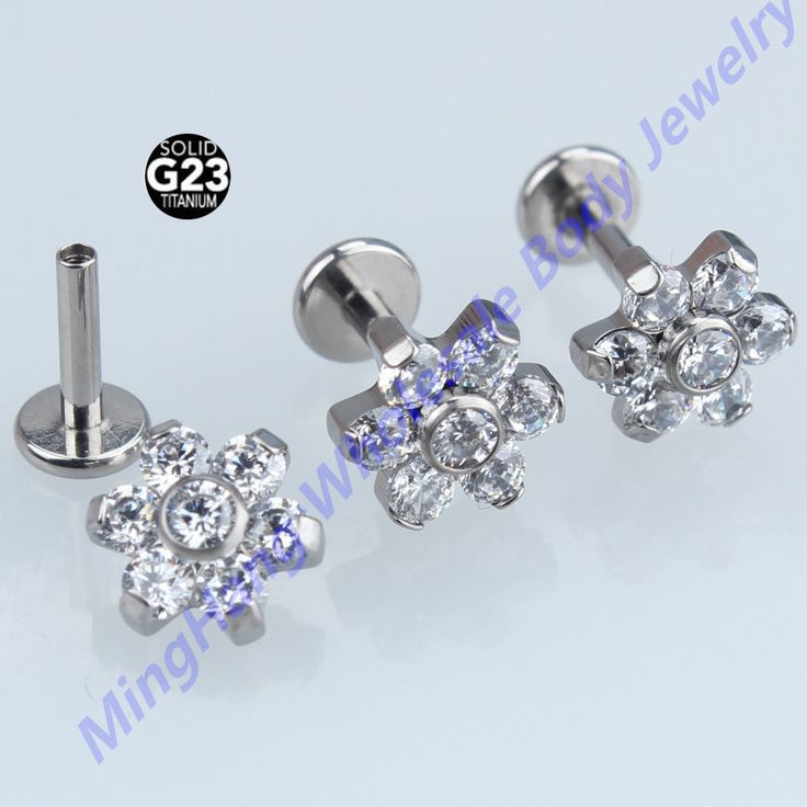 10pcs/lot G23 Titanium Crystal Zircon Internally Threaded 16g Labret Lip Ear Cartilage Helix Tragus Stud Piercing Body Jewelry