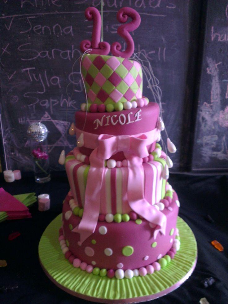 Topsy-turvy cake for 13th birthday