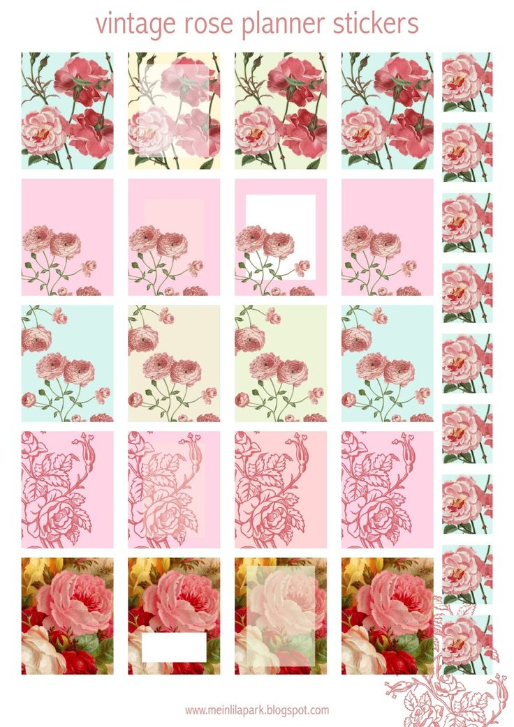 FREE printable vintage rose planner stickers
