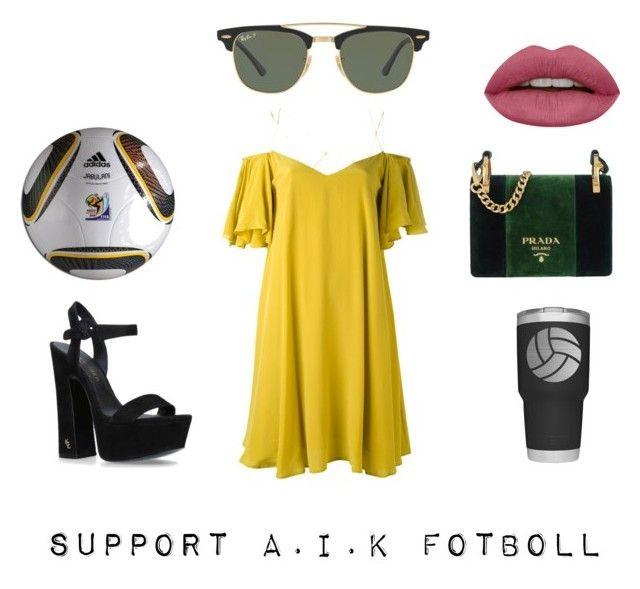 """Support"" by amandalowenborg on Polyvore featuring Ray-Ban, adidas, Essentiel, Prada and Kurt Geiger"