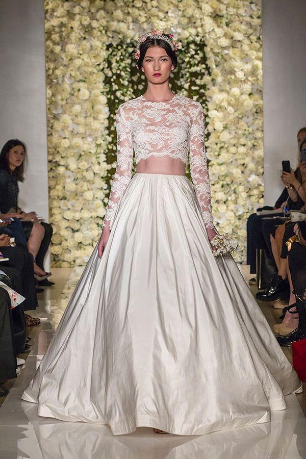 Reem Acra crop top/separates wedding dress // Top Wedding Dress Trends for 2015 - Part 1