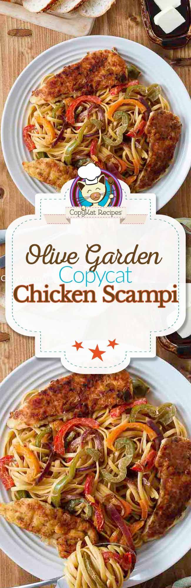 Make this copycat recipe for Olive Garden Chicken Scampi, this recipe is full of fresh onions, peppers, and chicken.