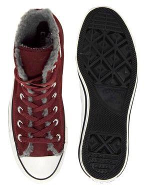 Imagen 4 de Zapatillas de deporte hi-top de ante en color burdeos con forro cálido All Star de Converse