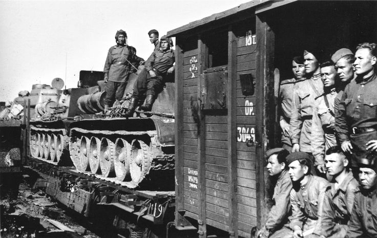 Russian tank troops with their T-34 tanks travel by train to the front. Eighty percent of Soviet large scale movements of military units during WW2 were carried out by railway.: Armor Tanks Military Vehical, Military Trains Cars, Volunteer Tank, War Ii, Wwii Tanks, T 34 Tanks, Military Transport